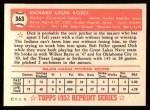 1952 Topps Reprints #363   Dick Rozek Back Thumbnail