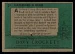 1956 Topps Davy Crockett #3 GRN  Catching a Bear  Back Thumbnail