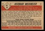 1953 Bowman #23  Herm Wehmeier  Back Thumbnail