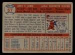 1957 Topps #57  Jim Lemon  Back Thumbnail