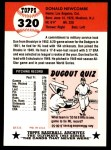 1991 Topps 1953 Archives #320   Don Newcombe Back Thumbnail