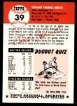 1991 Topps 1953 Archives #39  Eddie Miksis  Back Thumbnail