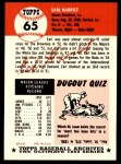 1991 Topps 1953 Archives #65  Earl Harrist  Back Thumbnail