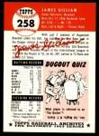 1991 Topps 1953 Archives #258   Jim Gilliam Back Thumbnail