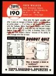 1991 Topps 1953 Archives #190   Dixie Walker Back Thumbnail