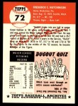 1991 Topps 1953 Archives #72  Fred Hutchinson  Back Thumbnail