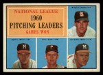 1961 Topps #47 ERR  -  Warren Spahn / Ernie Broglio / Lew Burdette / Vern Law NL Pitching Leaders Front Thumbnail