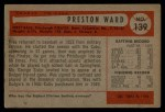 1954 Bowman #139 CF Preston Ward  Back Thumbnail