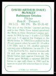 1978 TCMA The 60's #270  Dave McNally  Back Thumbnail