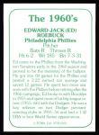 1978 TCMA The 60's #165 A Ed Roebuck  Back Thumbnail