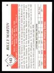 1979 TCMA The 50's #143  Billy Martin  Back Thumbnail