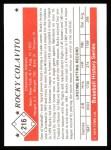 1979 TCMA The 50's #216  Rocky Colavito  Back Thumbnail