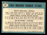 1965 Topps #501   Indians Rookie Stars  -  Jim Rittwage / Ralph Gagliano Back Thumbnail