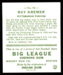 1933 Goudey Reprints #54  Ray Kremer  Back Thumbnail