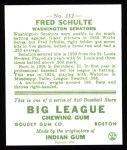 1933 Goudey Reprints #112  Fred Schulte  Back Thumbnail