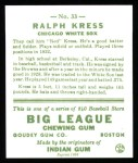 1933 Goudey Reprints #33  Ralph Kress  Back Thumbnail