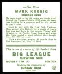 1933 Goudey Reprints #39  Mark Koenig  Back Thumbnail