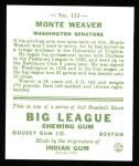 1933 Goudey Reprints #111  Monte Weaver  Back Thumbnail