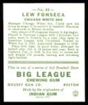 1933 Goudey Reprints #43  Lew Fonseca  Back Thumbnail