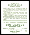 1933 Goudey Reprints #100  George Uhle  Back Thumbnail