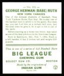 1933 Goudey Reprints #181  Babe Ruth  Back Thumbnail
