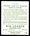 1933 Goudey Reprints #58  Lefty O'Doul  Back Thumbnail