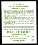 1933 Goudey Reprints #221  Dale Alexander  Back Thumbnail