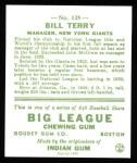 1933 Goudey Reprints #125  Bill Terry  Back Thumbnail
