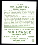1933 Goudey Reprints #139  Ben Cantwell  Back Thumbnail