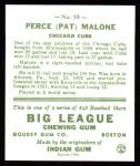 1933 Goudey Reprints #55  Pat Malone  Back Thumbnail
