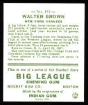 1933 Goudey Reprints #192  Walter Brown  Back Thumbnail