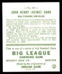 1933 Goudey Reprints #85  Heinie Sand  Back Thumbnail