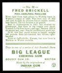 1933 Goudey Reprints #38  Fred Brickell  Back Thumbnail