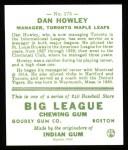 1933 Goudey Reprints #175  Dan Howley  Back Thumbnail