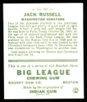 1933 Goudey Reprints #167  Jack Russell  Back Thumbnail