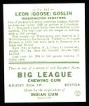 1933 Goudey Reprints #168  Goose Goslin  Back Thumbnail