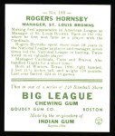 1933 Goudey Reprints #188  Rogers Hornsby  Back Thumbnail