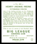 1933 Goudey Reprints #205  Heinie Meine  Back Thumbnail
