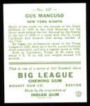 1933 Goudey Reprints #237  Gus Mancuso  Back Thumbnail