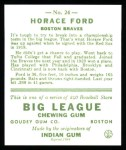 1933 Goudey Reprints #24  Horace Ford  Back Thumbnail