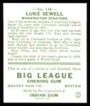 1933 Goudey Reprints #114  Luke Sewell  Back Thumbnail