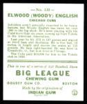1933 Goudey Reprints #135  Woody English  Back Thumbnail