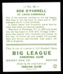 1933 Goudey Reprints #34  Bob O'Farrell  Back Thumbnail