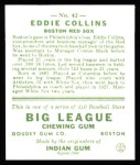 1933 Goudey Reprints #42  Eddie Collins  Back Thumbnail