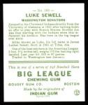 1933 Goudey Reprints #163  Luke Sewell  Back Thumbnail