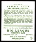 1933 Goudey Reprints #154  Jimmie Foxx  Back Thumbnail