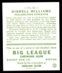 1933 Goudey Reprints #82  Dib Williams  Back Thumbnail