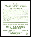 1933 Goudey Reprints #232  Lefty O'Doul  Back Thumbnail