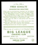 1933 Goudey Reprints #190  Fred Schulte  Back Thumbnail