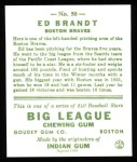 1933 Goudey Reprints #50  Ed Brandt  Back Thumbnail